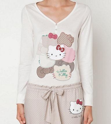 pijamas hello kitty oysho otoño lunares