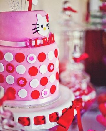 cumpleaños hello kitty rosa tarta