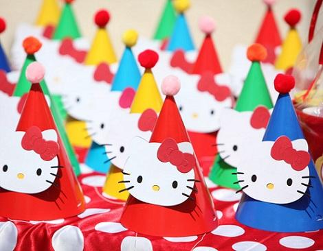 cumpleaños un año hello kitty gorros