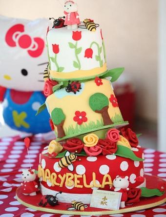 cumpleaños un año hello kitty tarta