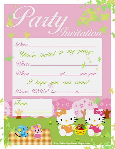 hello kitty invitaciones rosa