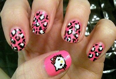 ideas decorar uñas hello kitty leopardo