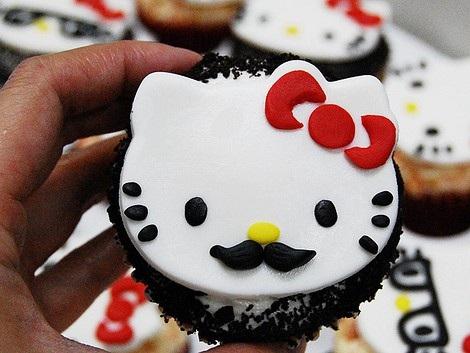 cupcakes hello kitty bigote
