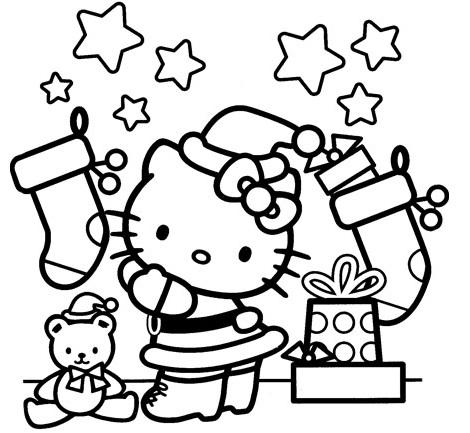 dibujos navidad hello kitty calcetines