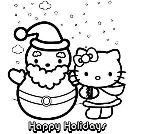 dibujos navidad hello kitty papa noel