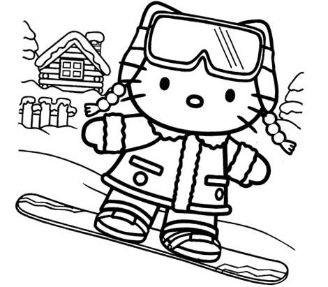 dibujos navidad hello kitty snow