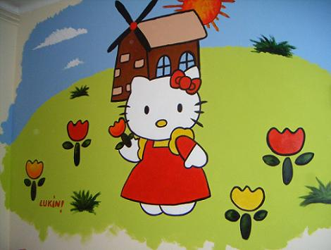 Mural para niña Kitty