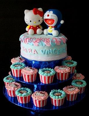tartas cumpleaños hello kitty doraemon