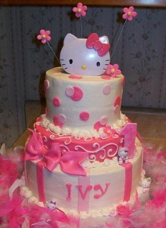 tartas cumpleaños hello kitty flores