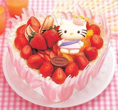 tartas cumpleaños hello kitty fresas